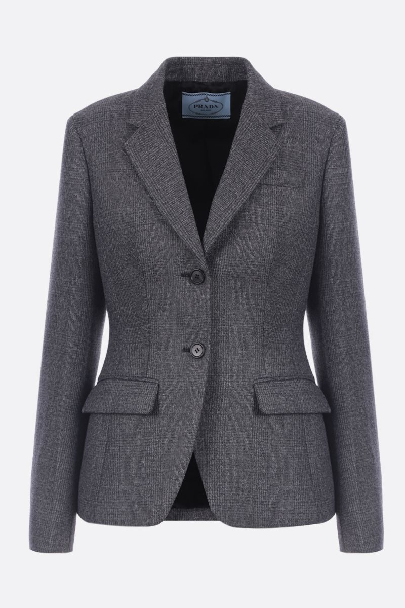 PRADA: single-breasted jacket in prince of Wales stretch wool Color Grey_1