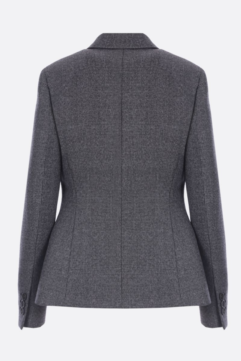 PRADA: single-breasted jacket in prince of Wales stretch wool Color Grey_2