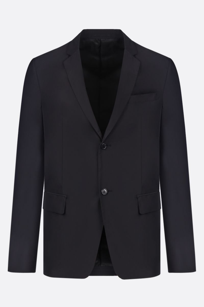 PRADA: technical poplin single-breasted jacket Color Black_1