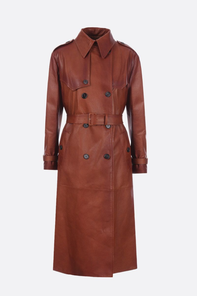 PRADA: double-breasted trench coat in grainy nappa Color Brown_1