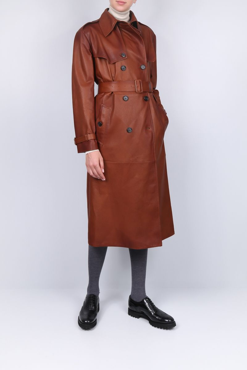 PRADA: double-breasted trench coat in grainy nappa Color Brown_2