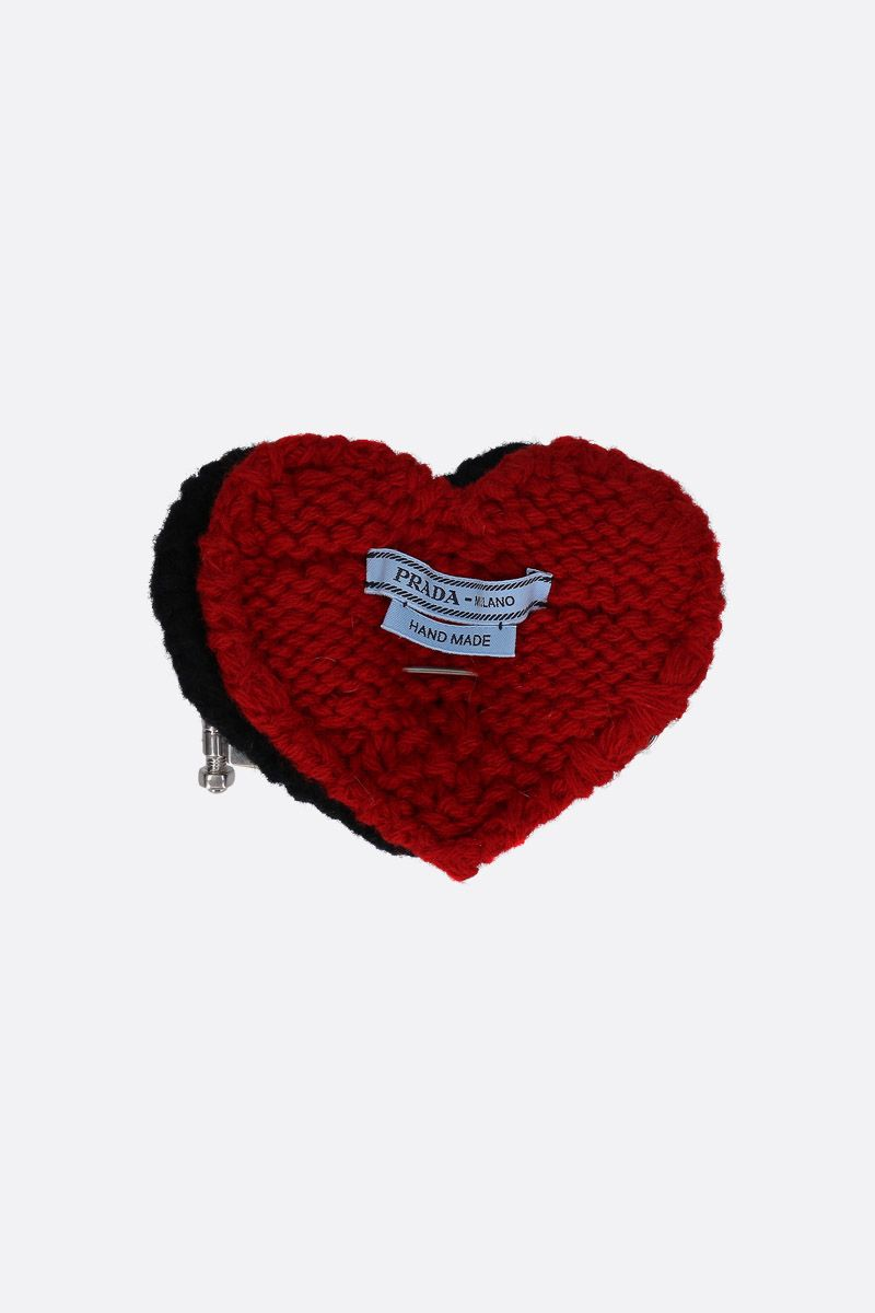 PRADA: brass pin with knit hearts Color Black_1