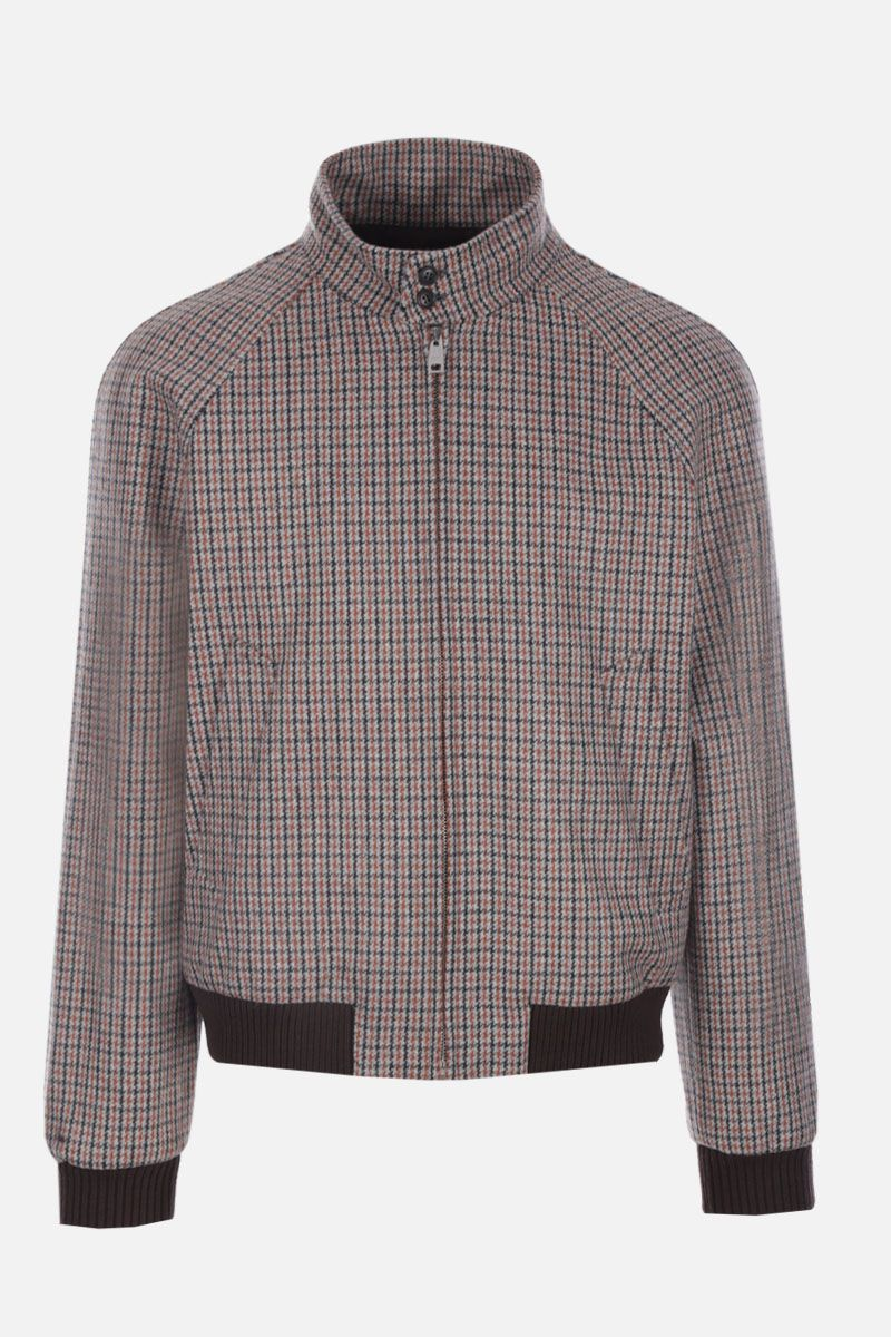 PRADA: houndstooth Shetland wool bomber jacket Color Neutral_1