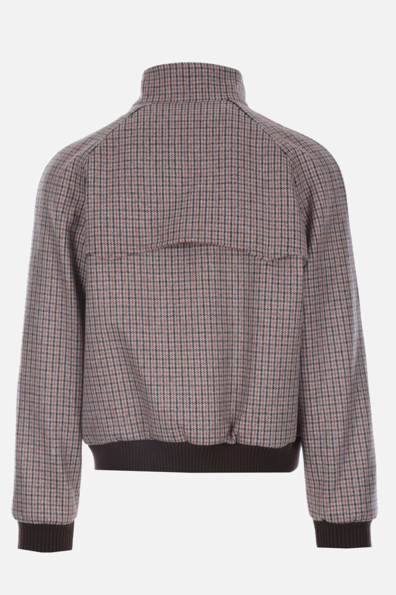 PRADA: houndstooth Shetland wool bomber jacket Color Neutral_2