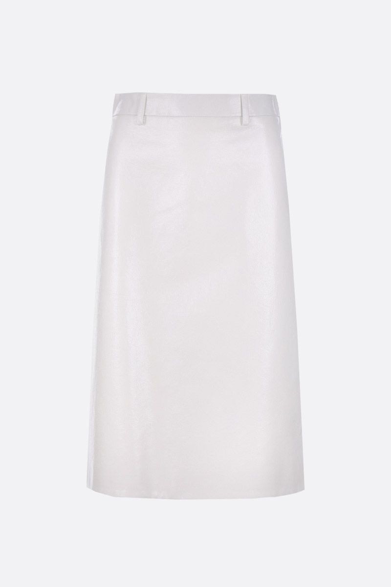 PRADA: Lux leather A-line skirt Color White_1