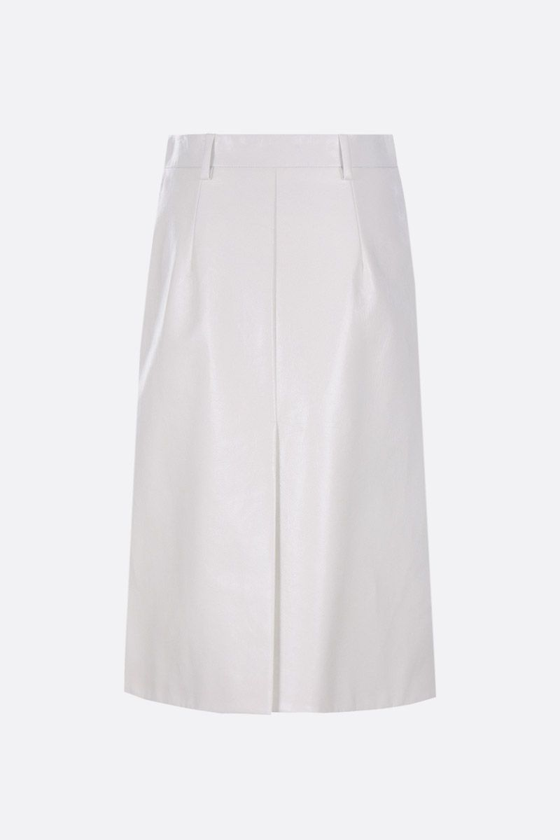 PRADA: Lux leather A-line skirt Color White_2