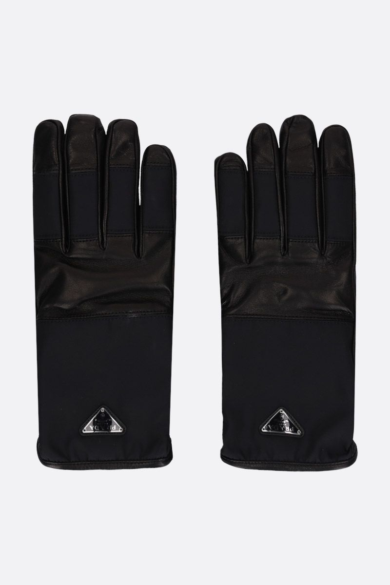 PRADA: nappa leather gloves with nylon insert Color Black_1