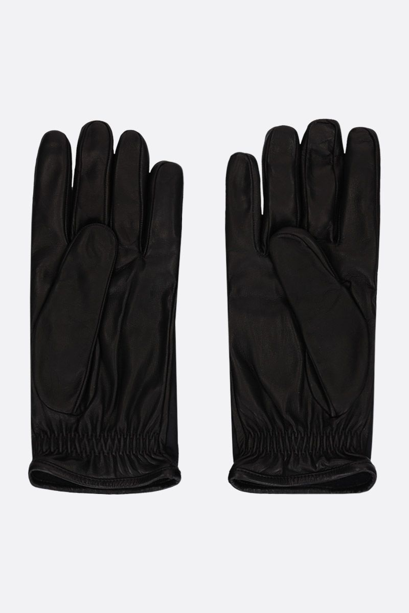PRADA: nappa leather gloves with nylon insert Color Black_2