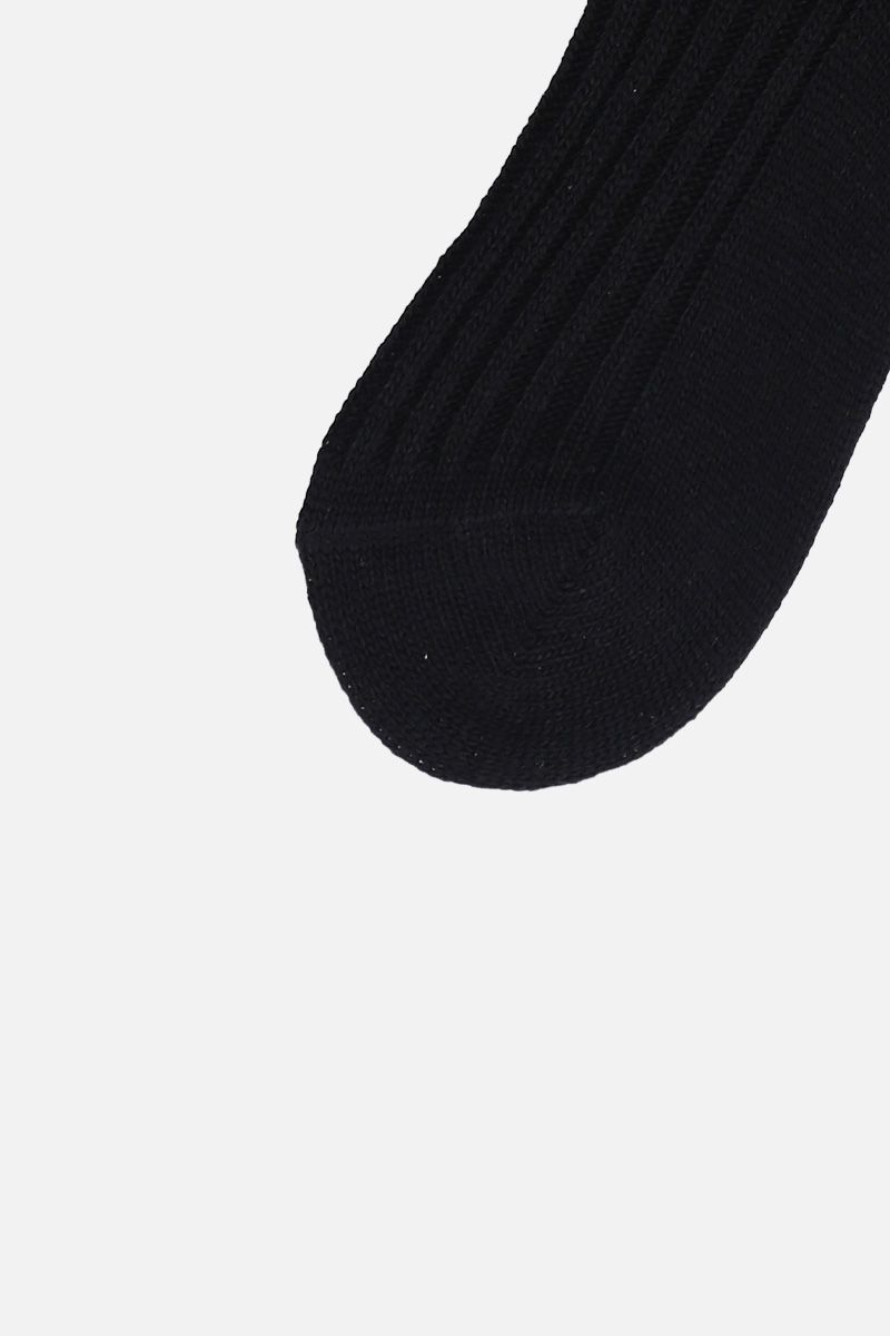 PRADA: wool blend socks with heart patch Color Black_2