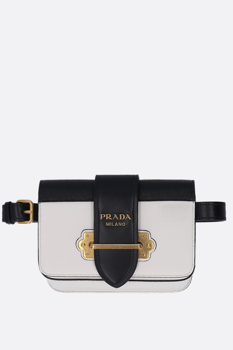 PRADA: Prada Cahier belt bag in City and Saffiano leather Color White_1