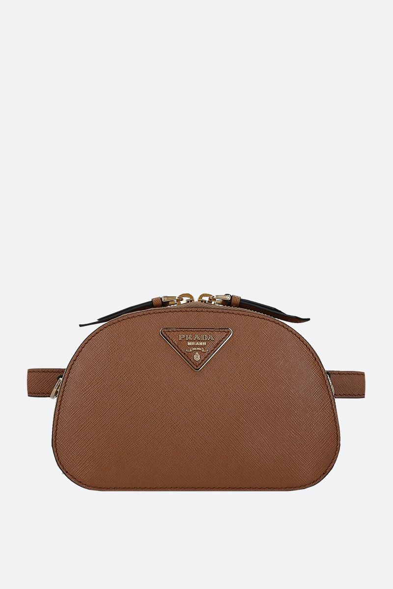 PRADA: Prada Odette belt bag in Saffiano leather Color Brown_1