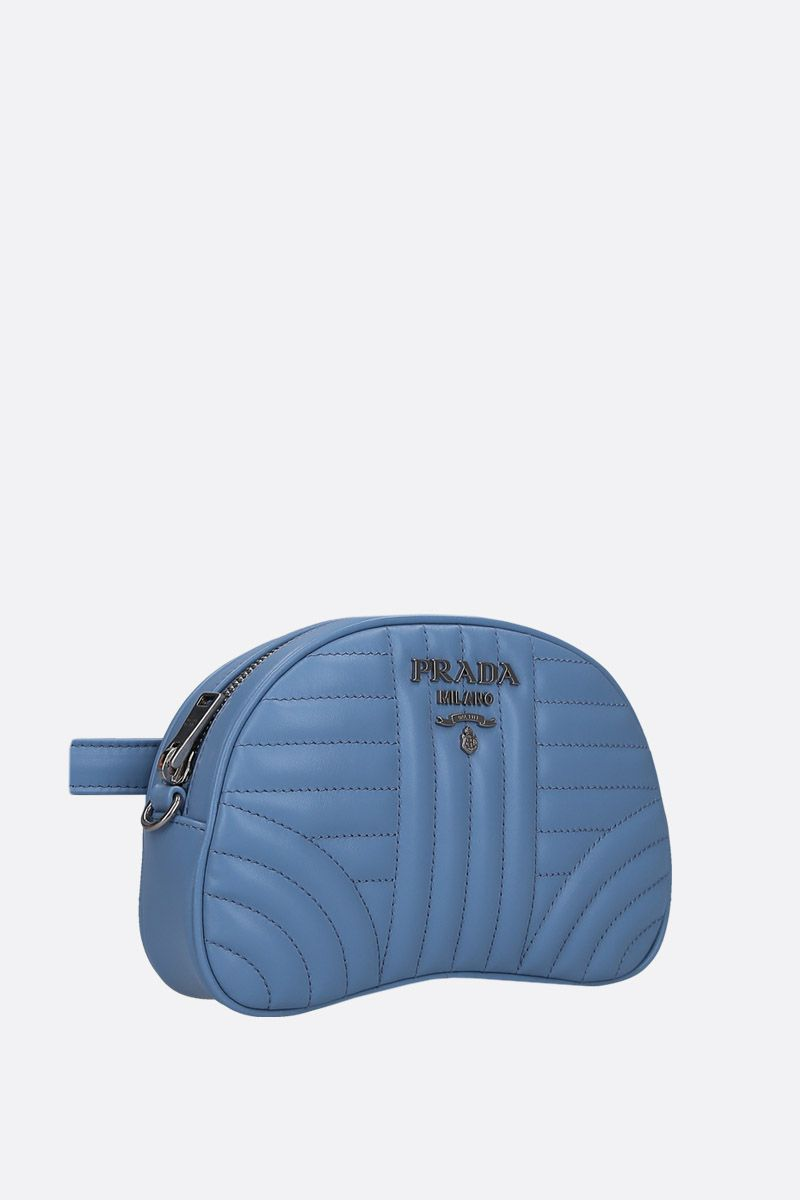 PRADA: quilted leather belt bag Color Blue_3