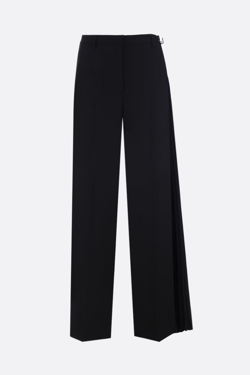 PRADA: technical fabric wide-leg pants with pleated detail Color Black_1
