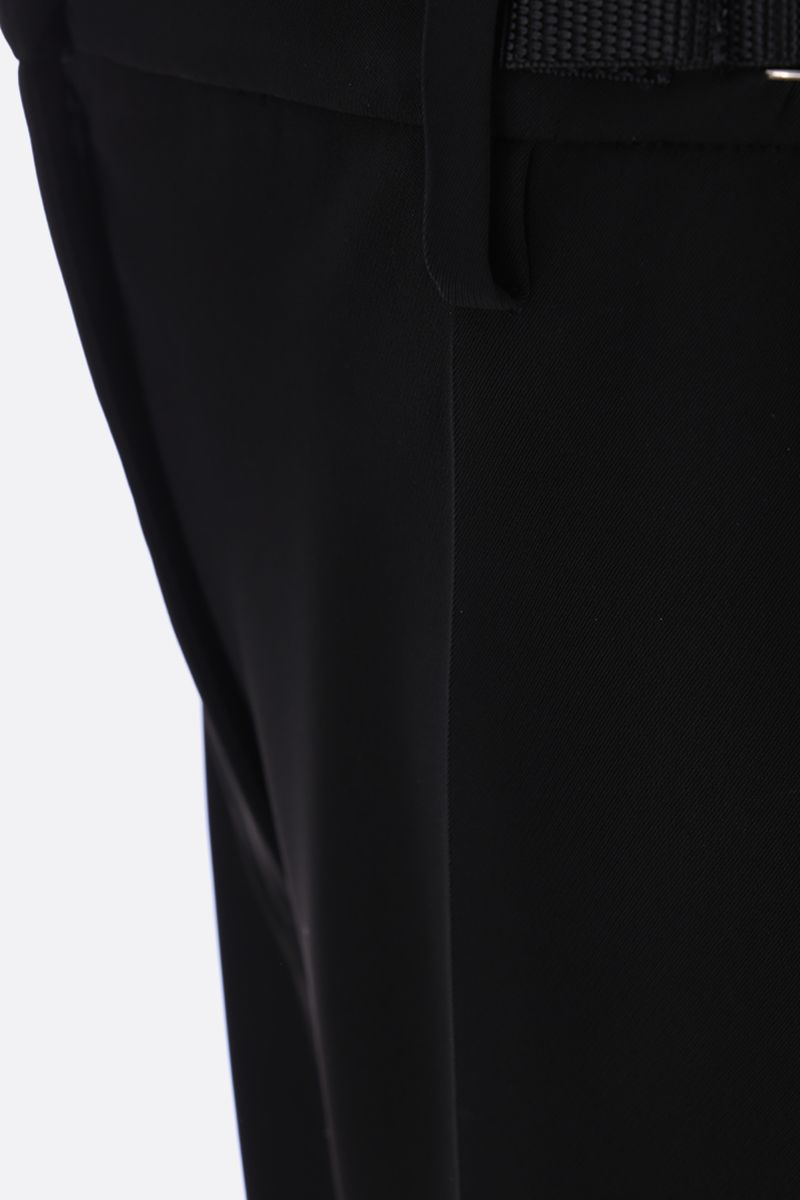 PRADA: technical fabric wide-leg pants with pleated detail Color Black_3