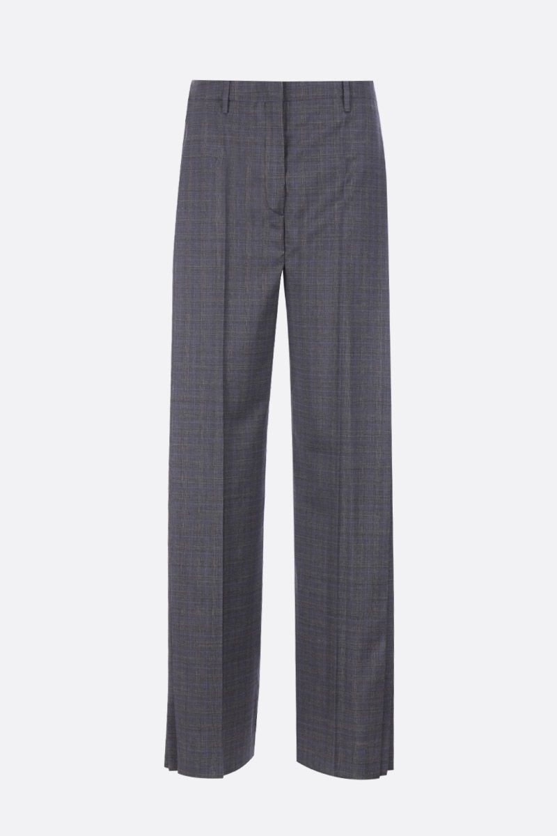 PRADA: wool blend wide-leg pants with pleated details Color Grey_1