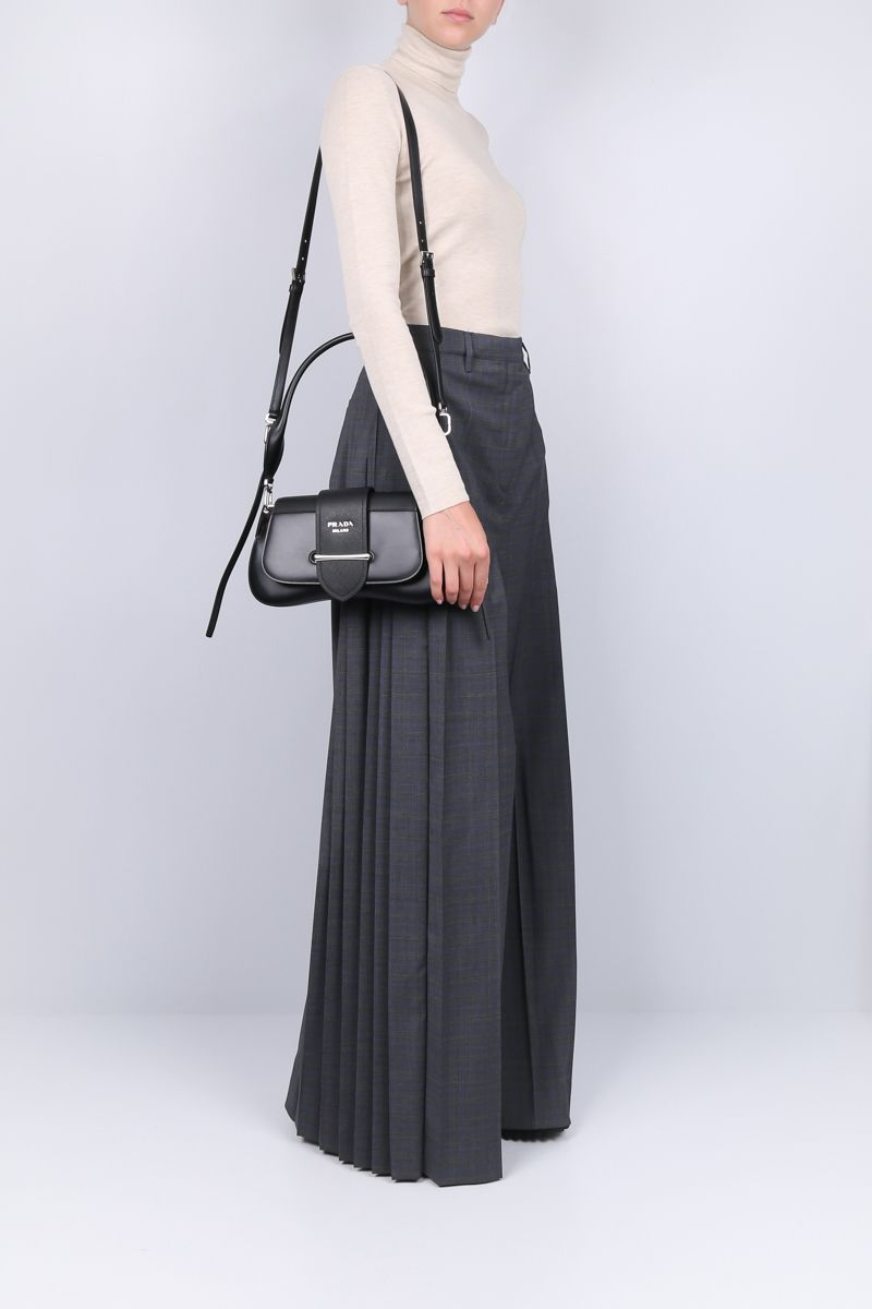 PRADA: wool blend wide-leg pants with pleated details Color Grey_2