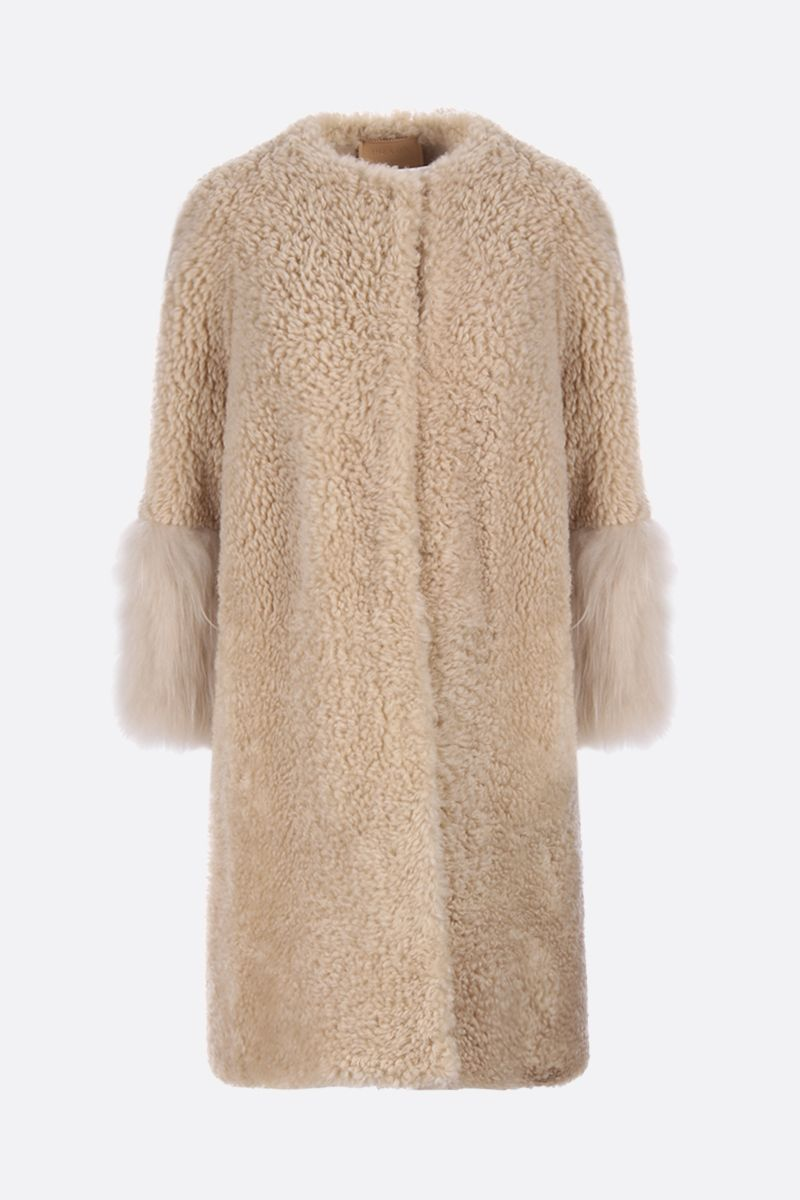 PRADA: shearling single-breatsed coat Color Neutral_1