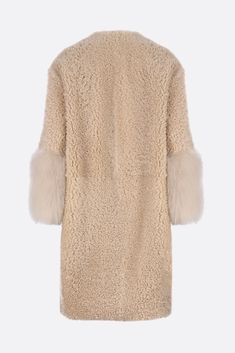 PRADA: shearling single-breatsed coat Color Neutral_2