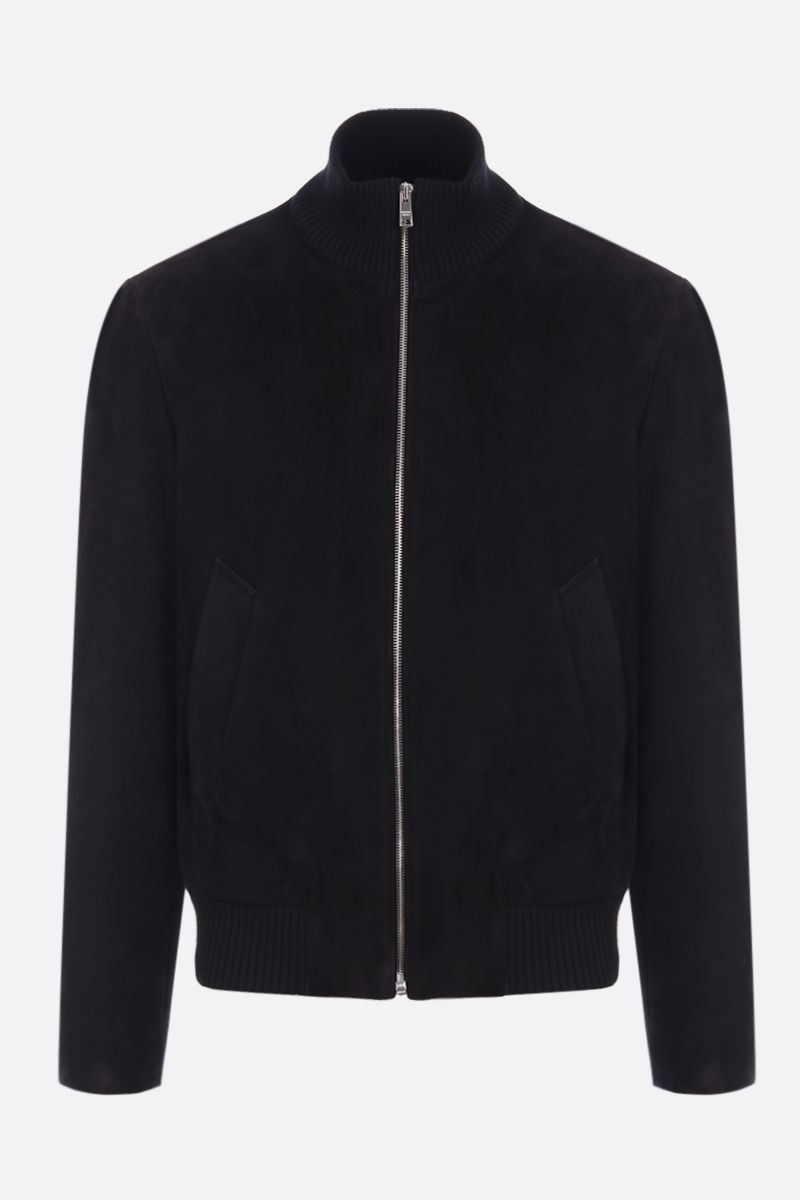 PRADA: soft suede full-zip bomber jacket Color Black_1