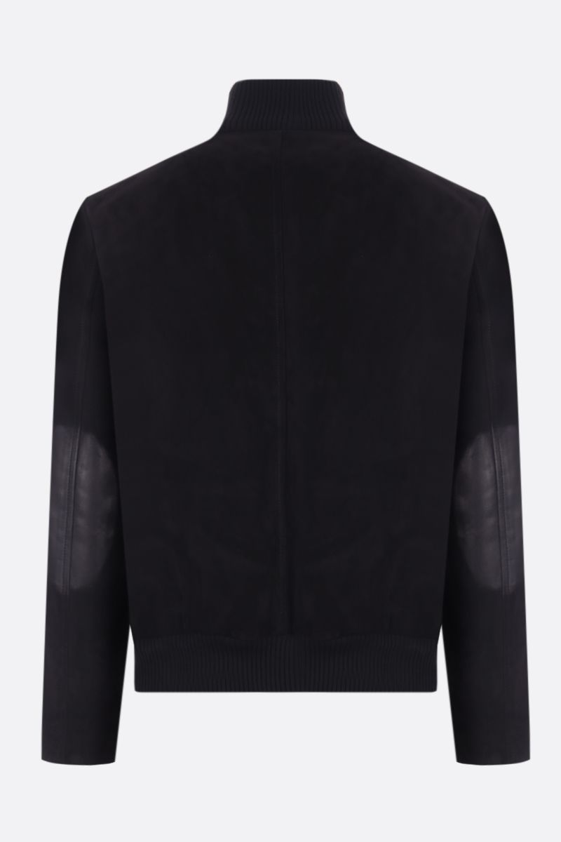 PRADA: soft suede full-zip bomber jacket Color Black_2