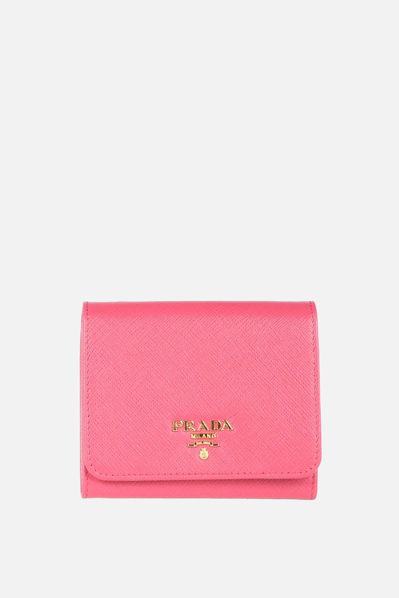 PRADA: Saffiano leather flap wallet Color Pink_1
