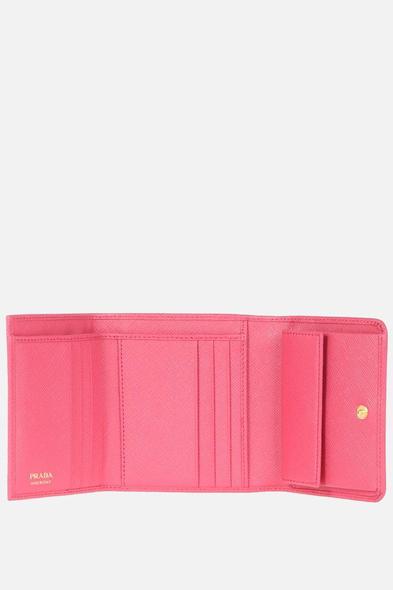PRADA: Saffiano leather flap wallet Color Pink_2