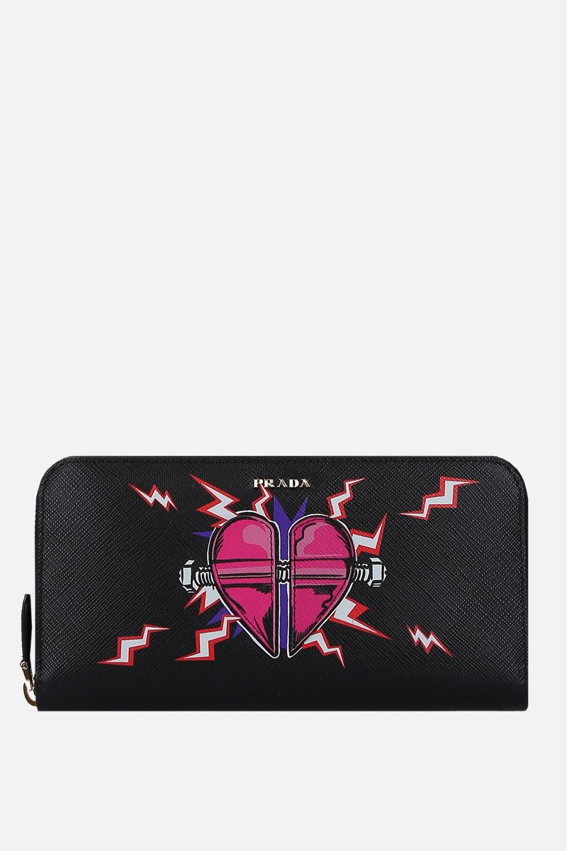 PRADA: Heart patch Saffiano leather zip-around wallet Color Black_1