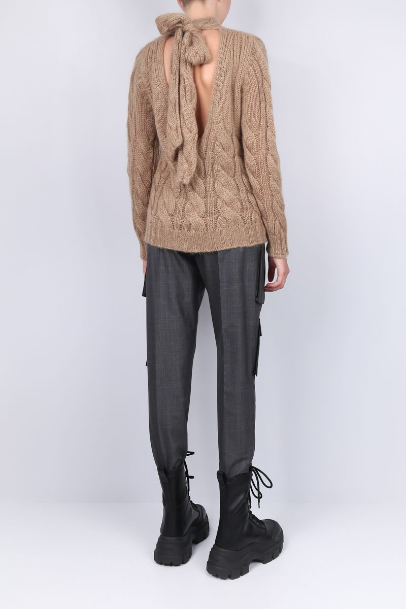 PRADA: mohair and wool blend pullover Color Brown_2