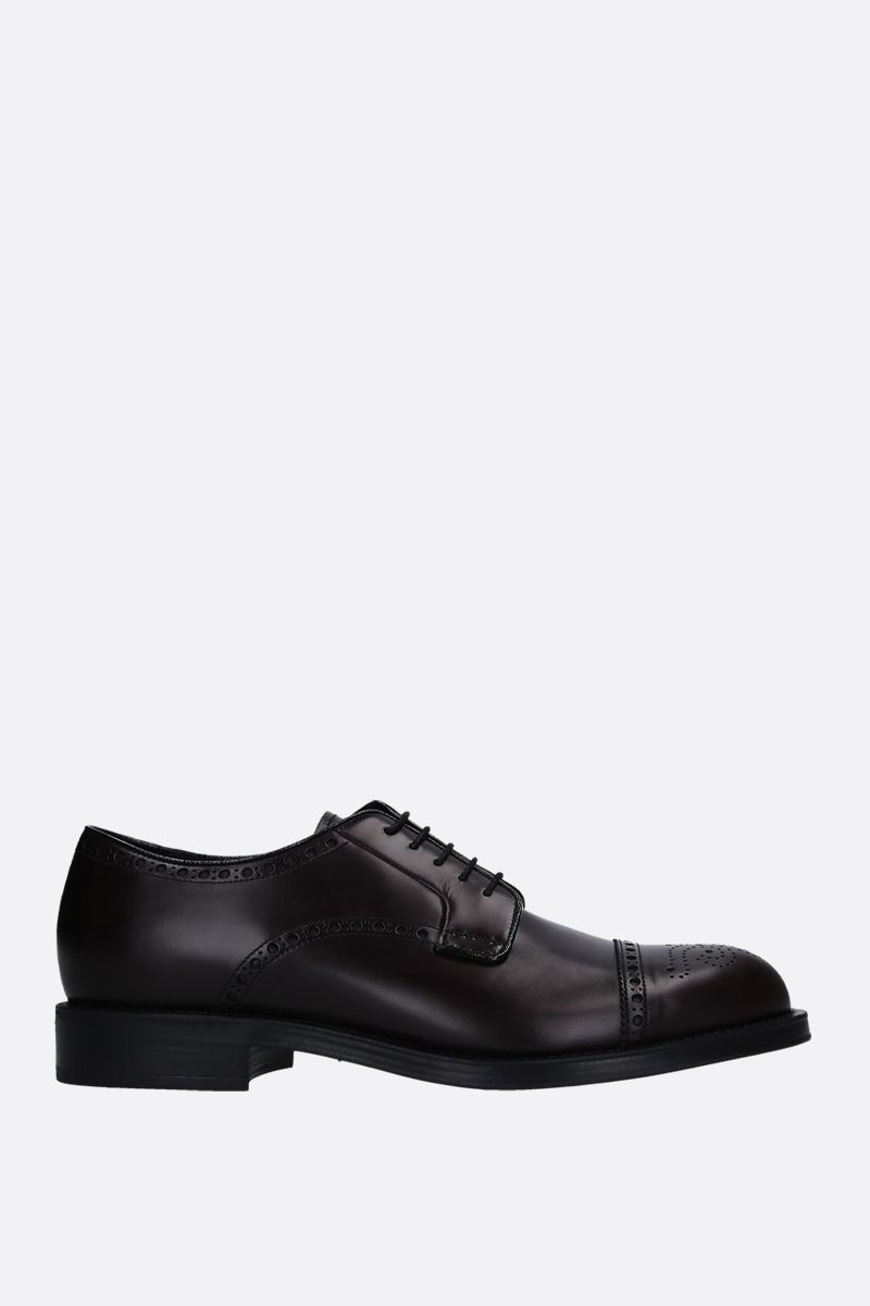 PRADA: brushed calf derby shoes Color Brown_1