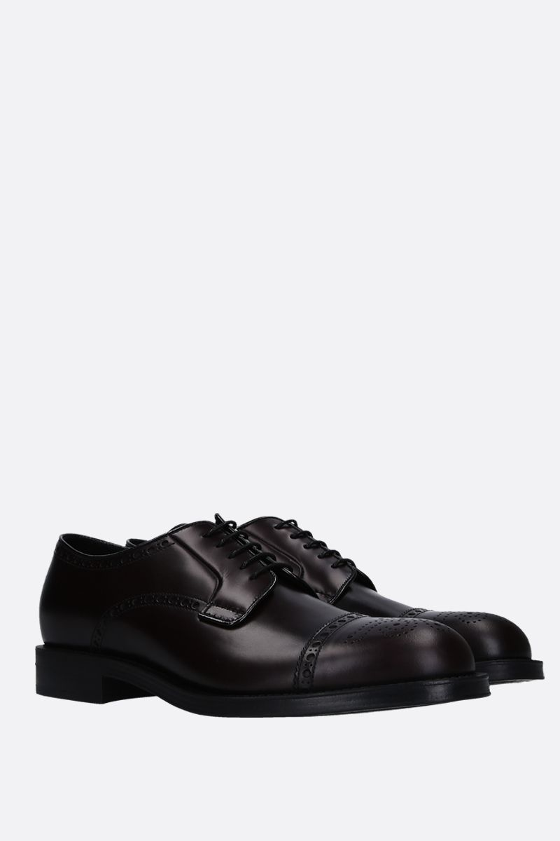 PRADA: brushed calf derby shoes Color Brown_2