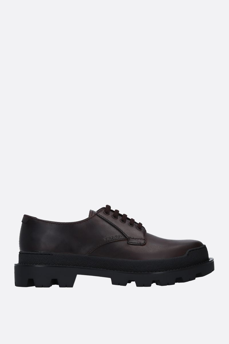 PRADA: rubberized leather derby shoes Color Brown_1