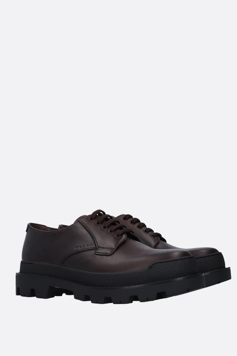 PRADA: rubberized leather derby shoes Color Brown_2