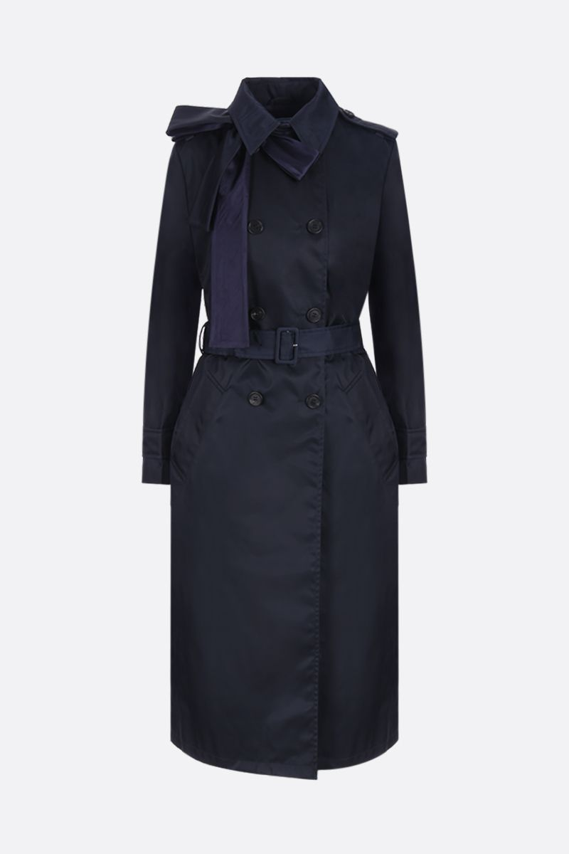 PRADA: nylon gabardine double-breasted trench coat with bow detail Color Blue_1