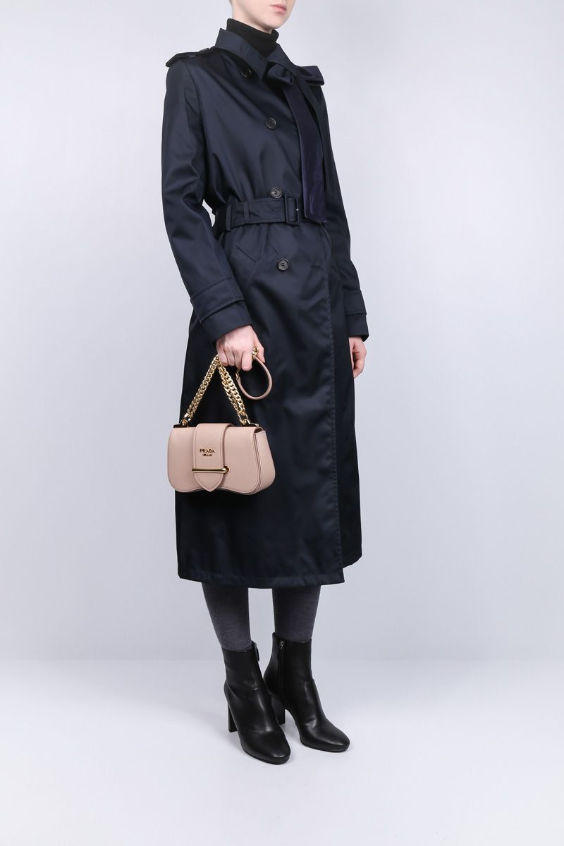 PRADA: nylon gabardine double-breasted trench coat with bow detail Color Blue_2