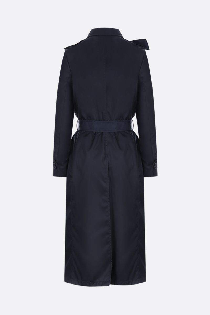 PRADA: nylon gabardine double-breasted trench coat with bow detail Color Blue_3