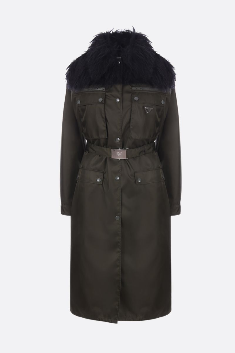 PRADA: nylon gabardine single-breasted trench coat with mohair blend insert Color Green_1