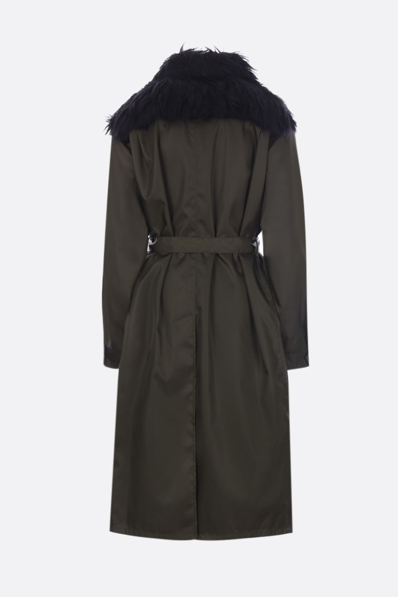 PRADA: nylon gabardine single-breasted trench coat with mohair blend insert Color Green_2