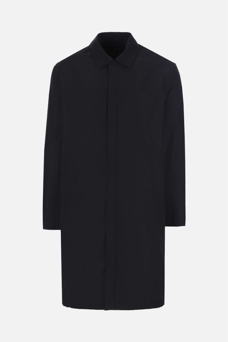 PRADA: single-breasted trench-coat in technical poplin Color Black_1