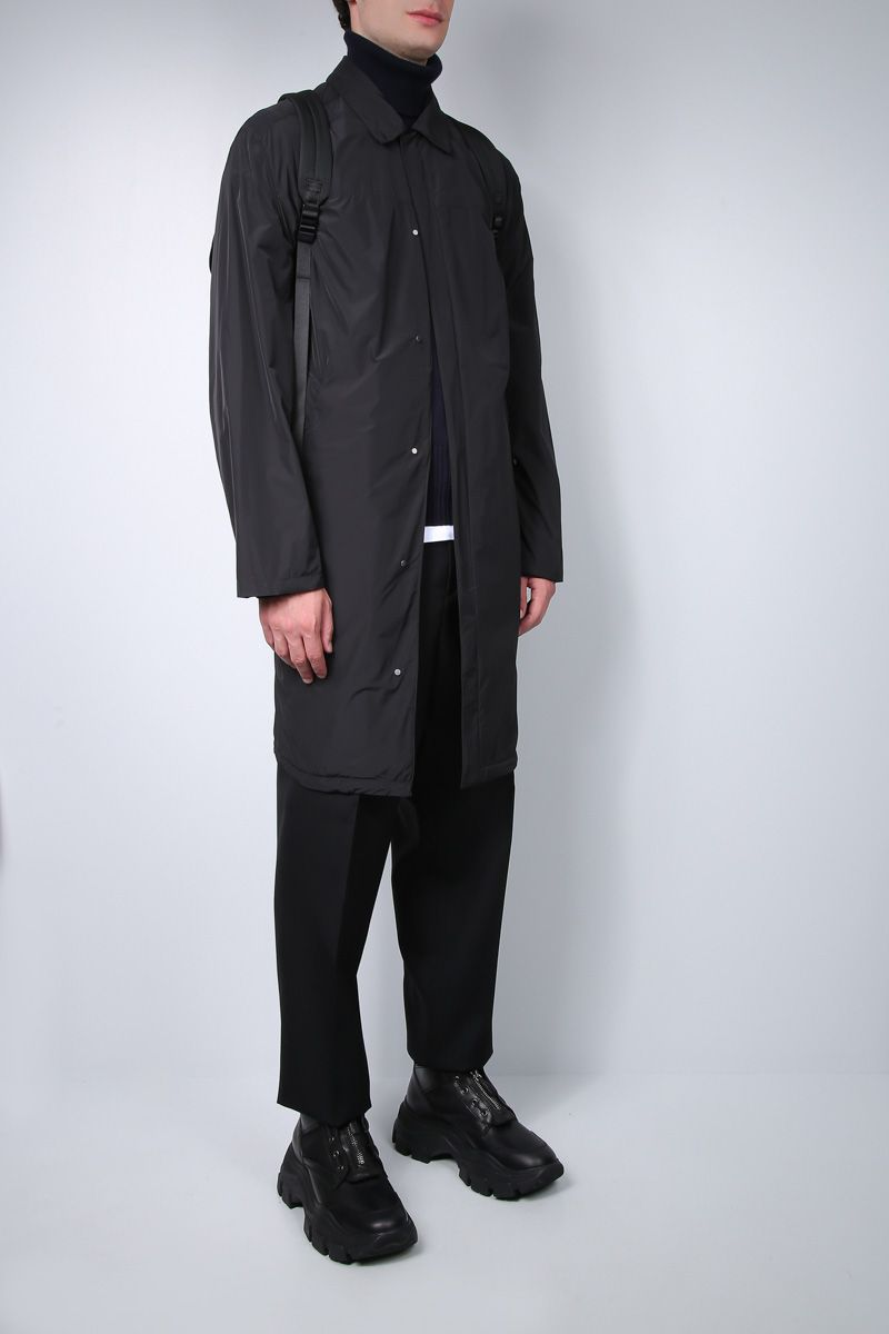 PRADA: single-breasted trench-coat in technical poplin Color Black_2