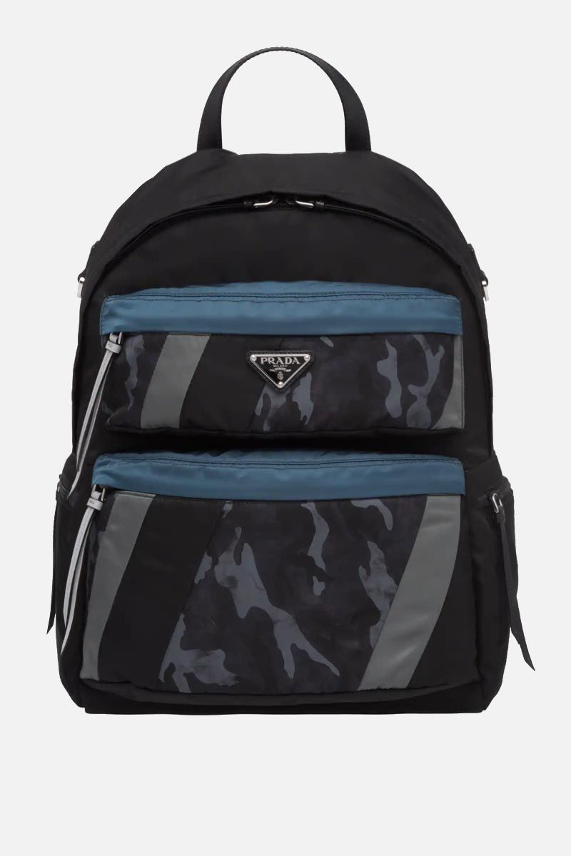 PRADA: camouflage nylon backpack Color Blue_1