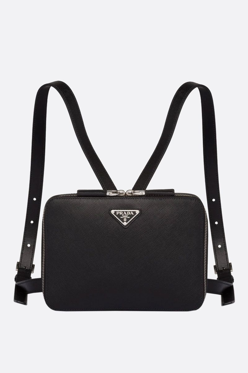PRADA: Saffiano leather backpack Color Black_1