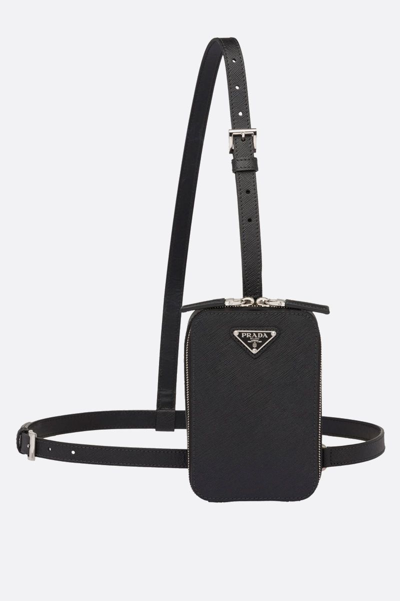 PRADA: Saffiano leather vertical bag Color Black_1