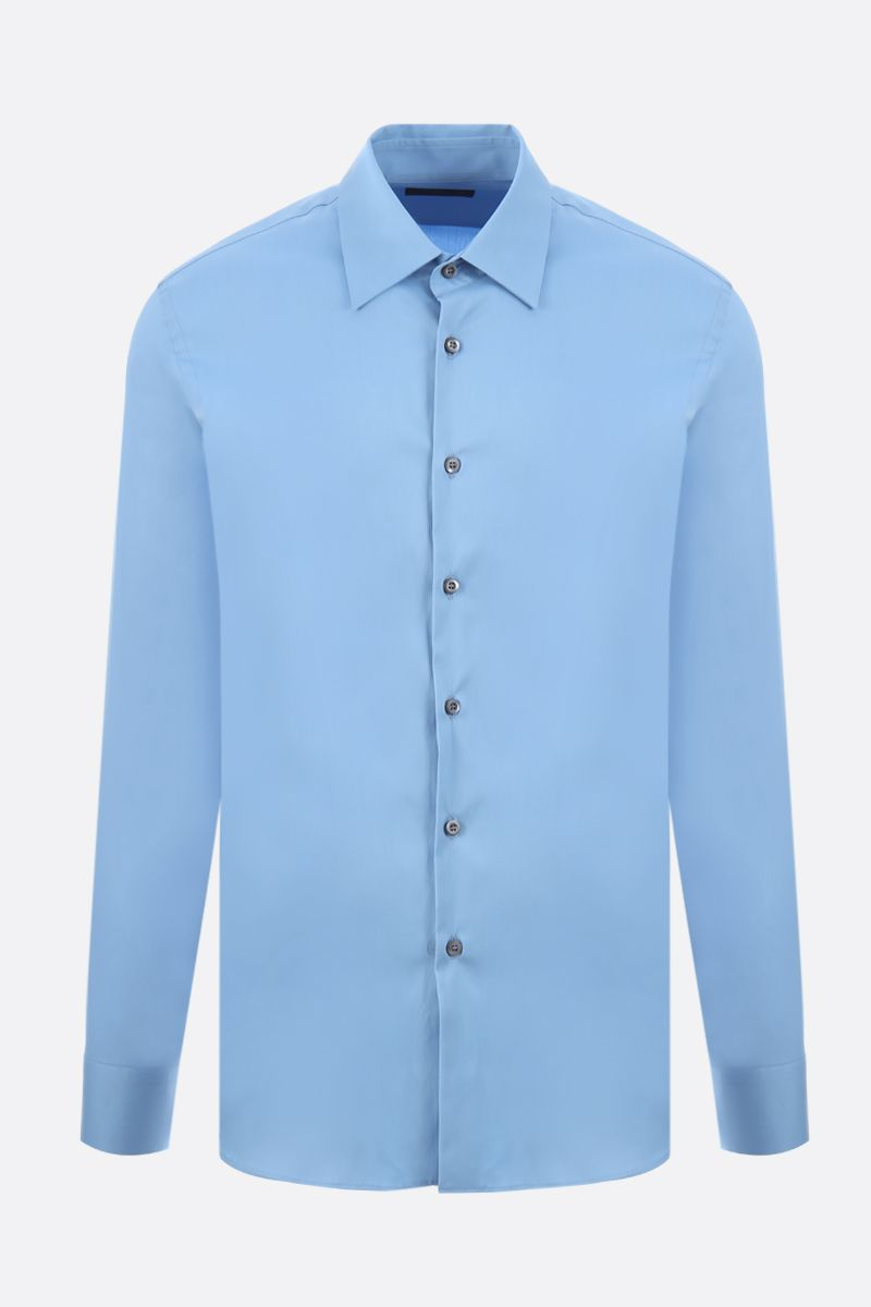 PRADA: stretch poplin slim-fit shirt Color Blue_1