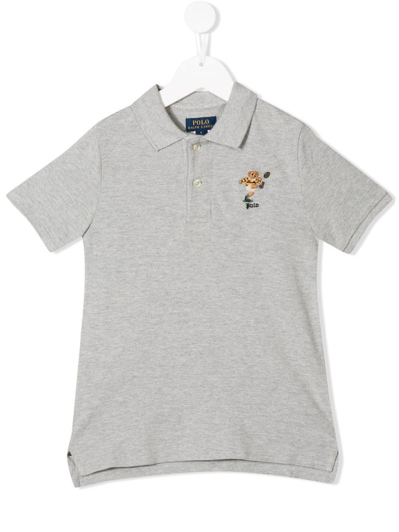 RALPH LAUREN KIDS: Rugby Bear embroidered piquet polo shirt Color Grey_1