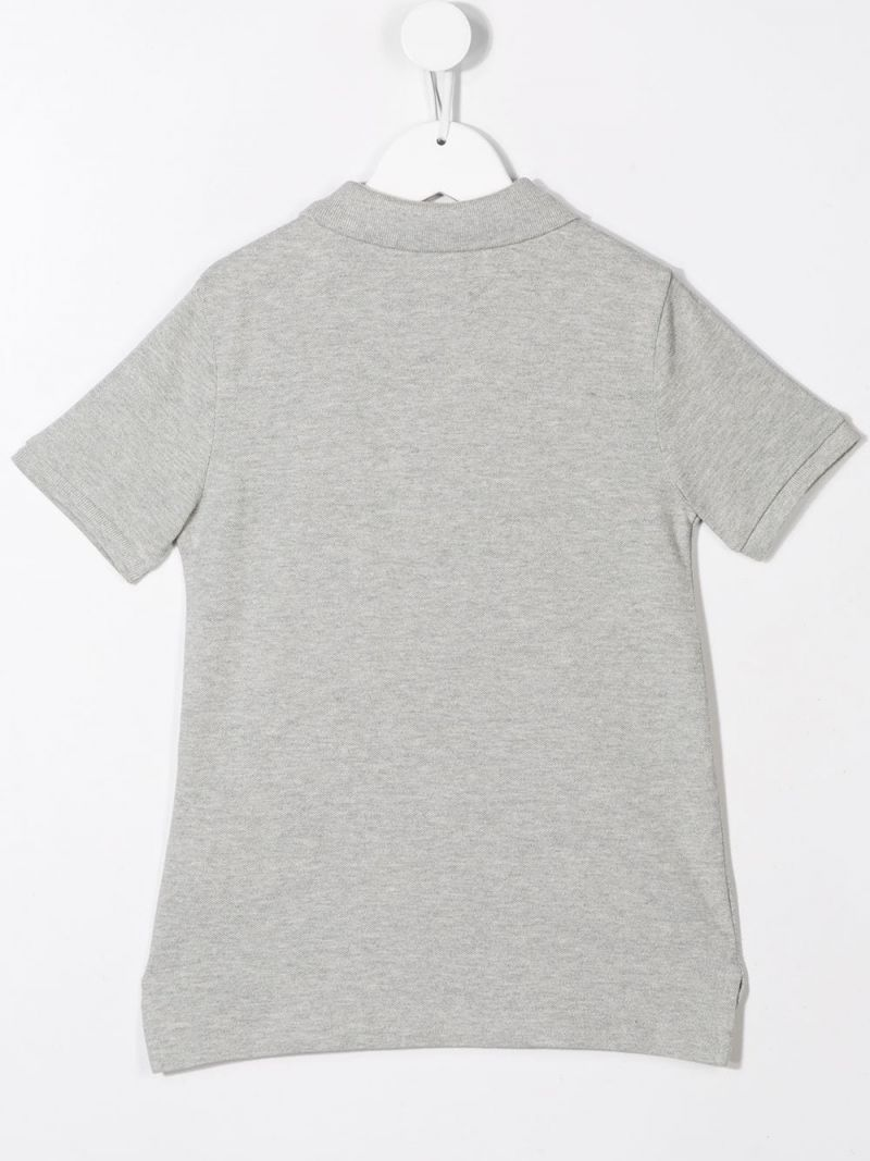 RALPH LAUREN KIDS: Rugby Bear embroidered piquet polo shirt Color Grey_2