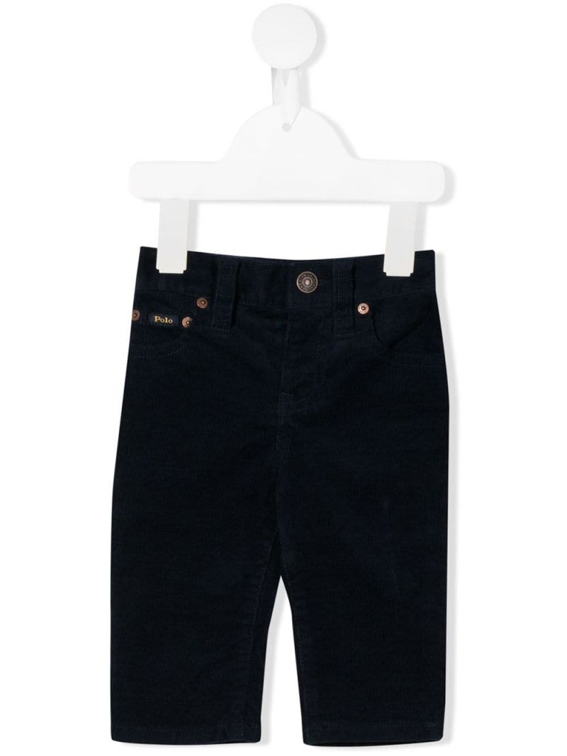 RALPH LAUREN KIDS: ribbed velvet straight-fit pants Color Blue_1