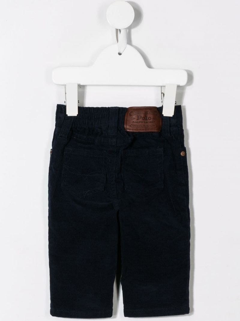 RALPH LAUREN KIDS: ribbed velvet straight-fit pants Color Blue_2