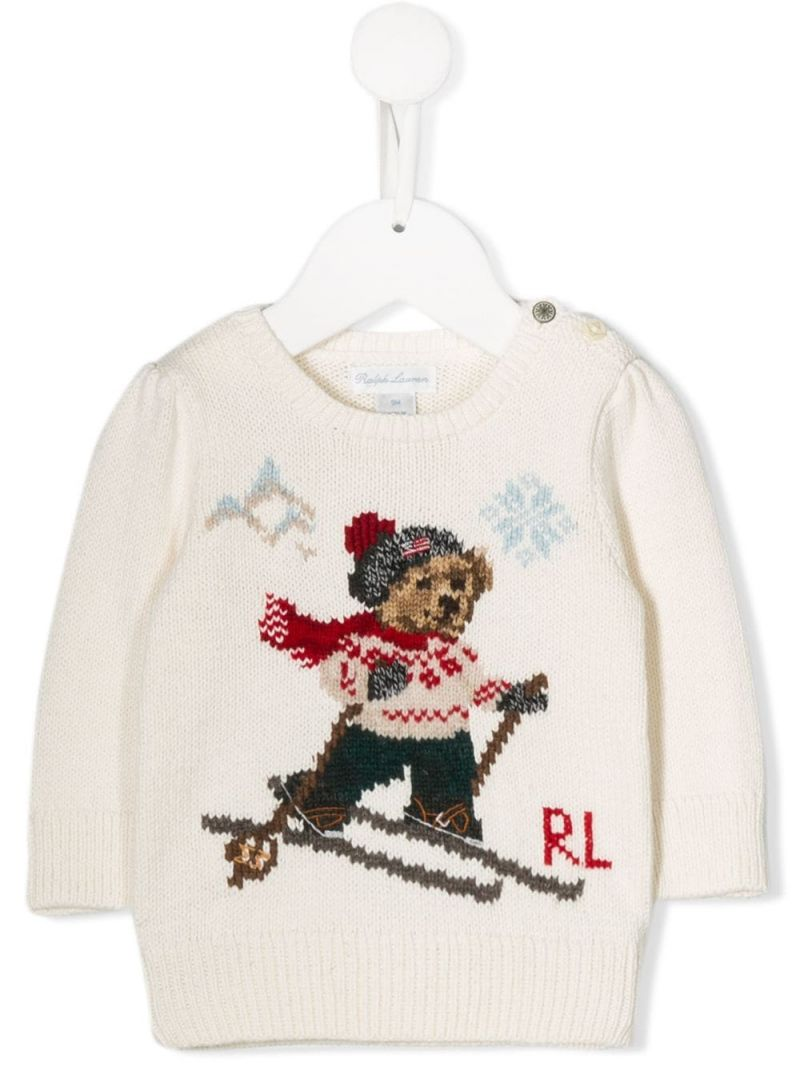 RALPH LAUREN KIDS: Ski Bear intarsia cotton wool blend pullover Color Neutral_1