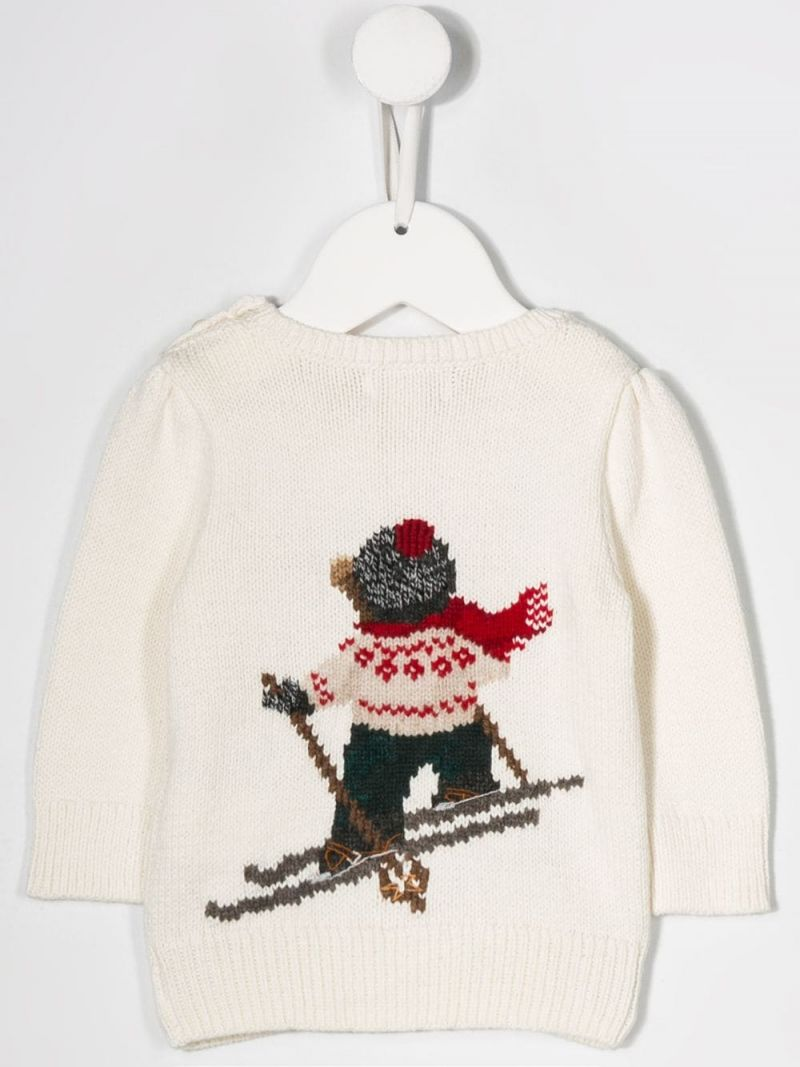 RALPH LAUREN KIDS: Ski Bear intarsia cotton wool blend pullover Color Neutral_2