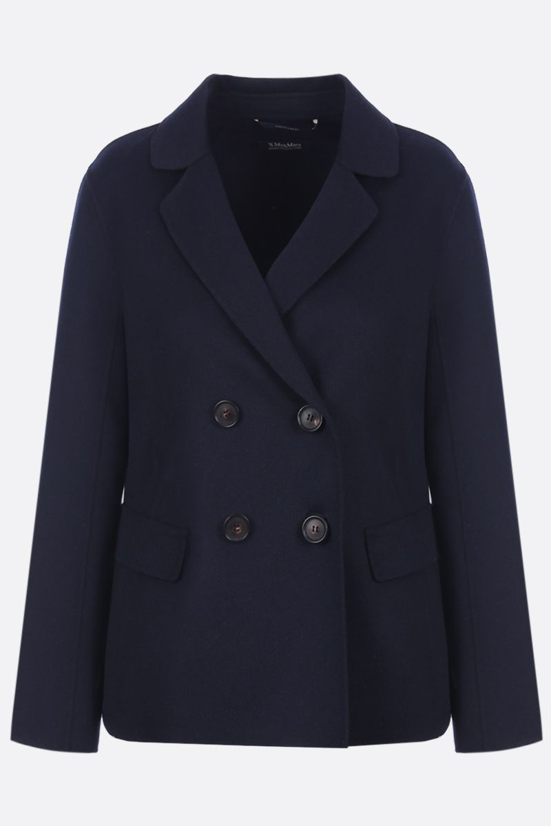 'S MAX MARA: Amedea double-breasted jacket in wool angora blend Color Blue_1